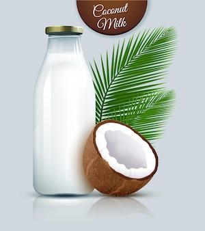 Leite vegan de coco não lácteo em garrafa