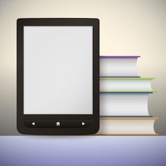 Leitor de livros eletrônicos com uma pilha de livros.