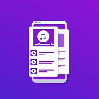 Leitor de música com lista de reprodução no smartphone
