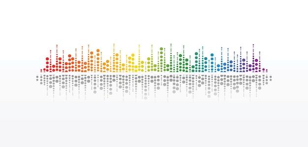 Leitor de música do círculo de pulso. logotipo da onda colorida de áudio. elemento equalizador vetorial
