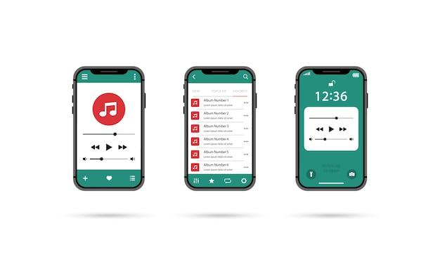 Leitor de música móvel. conjunto de jogadores de smartphone.