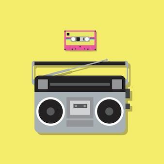Leitor de rádio retrô e fita cassete