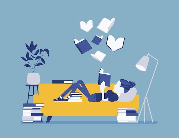 Leitora de livros femininos. jovem lê por prazer, deitada no sofá, aproveita o tempo ao redor de páginas literárias, volumes abertos flutuando acima, interior da casa, sala de biblioteca. ilustração vetorial, personagens sem rosto