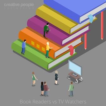 Leitores de livros e conceito auditivo de telespectadores.