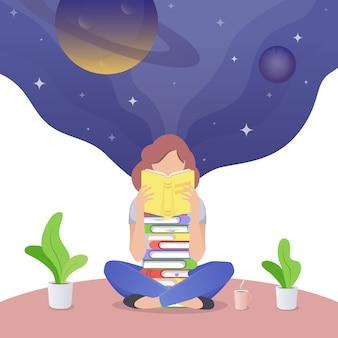 Leitura adulta nova e sonho da menina.