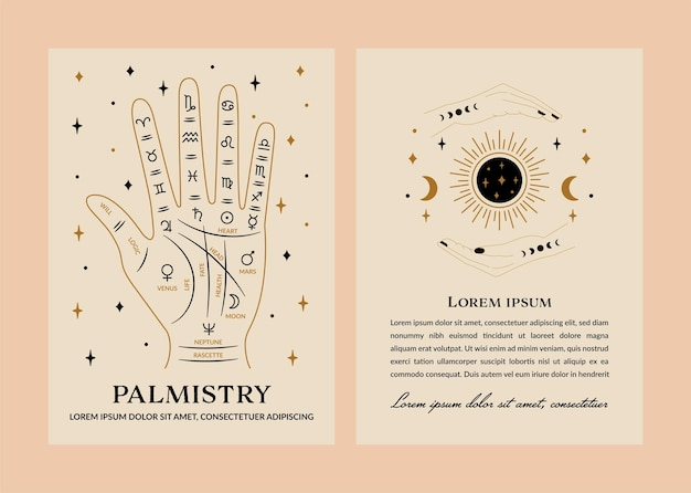 Leitura da palma da mão e design de cartão de ilustração do cartomante em vetor