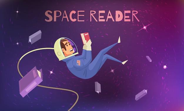 Leitura de espaço com cosmonauta em traje espacial plana