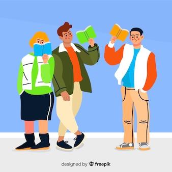 Leitura de ilustração de personagens de amigos