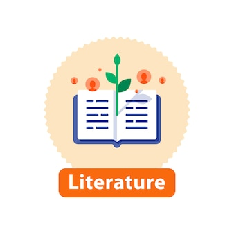 Leitura de literatura, livro aberto, conceito de narrativa, best-seller de livraria