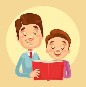 Leitura de personagens de pai e filho. ilustração em vetor plana dos desenhos animados