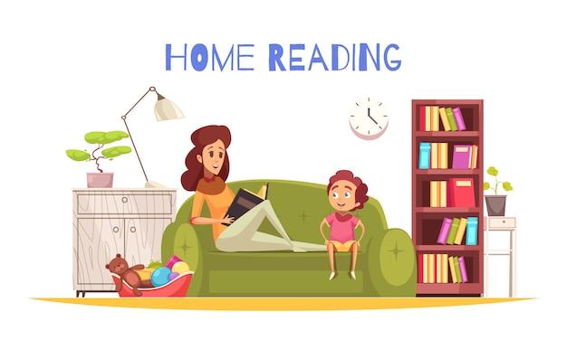 Leitura em casa com lâmpada de estante e sofá plano