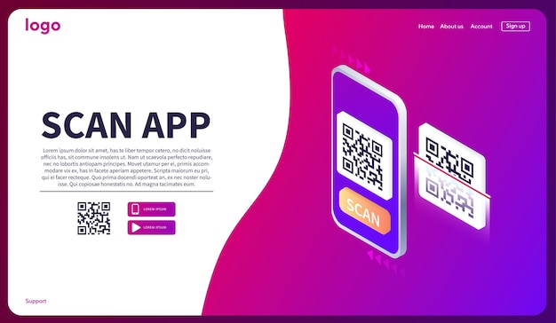 Leitura isométrica de smartphone qr code página de download do aplicativo móvel web banner concept web