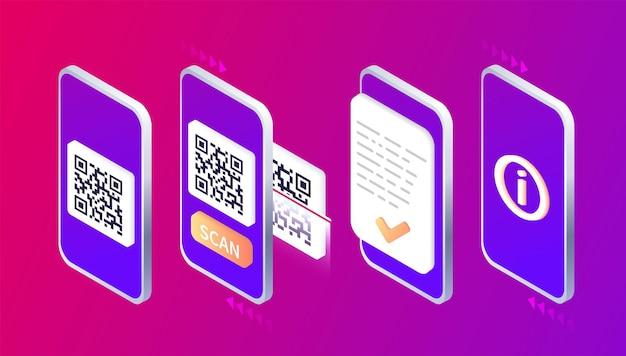 Leitura isométrica de smartphone qr code página de download do aplicativo móvel web banner concept