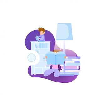 Leitura, livros, apartamento, estilo, ilustração