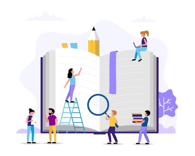 Leitura, personagens de pequenas pessoas fazendo várias tarefas em torno do grande livro.
