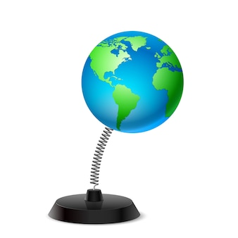 Lembrança de mesa em forma de globo terrestre na primavera