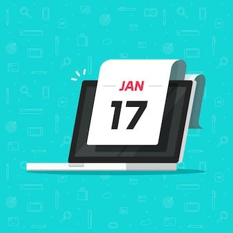 Lembrete de data de calendário na ilustração de tela de computador portátil