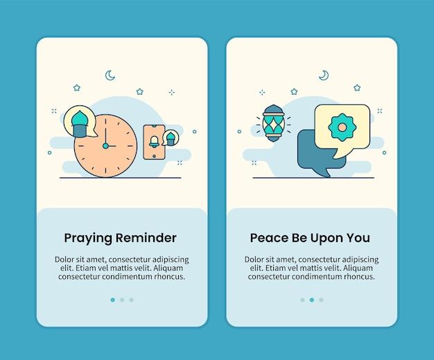 Lembrete de oração e que a paz esteja com o conjunto de páginas para celular