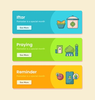 Lembrete de oração iftar para modelo de banner com ilustração de desenho vetorial de estilo de linha tracejada