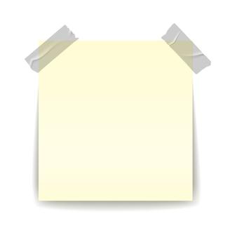 Lembrete de papel. fita adesiva de pedaço de tira transparente de fitas adesivas na ilustração realista de folha importante amarelo