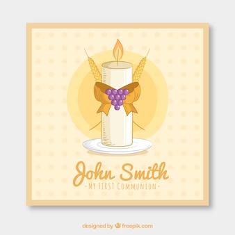 Lembrete de primeira comunhão com vela decorativa