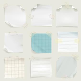 Lembretes e mensagem notas ilustração de páginas de papel em branco memorando para tarefa