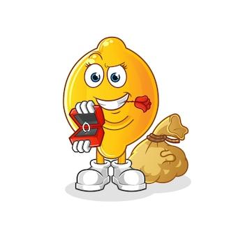 Lemon propor e segurando o personagem do anel. mascote dos desenhos animados