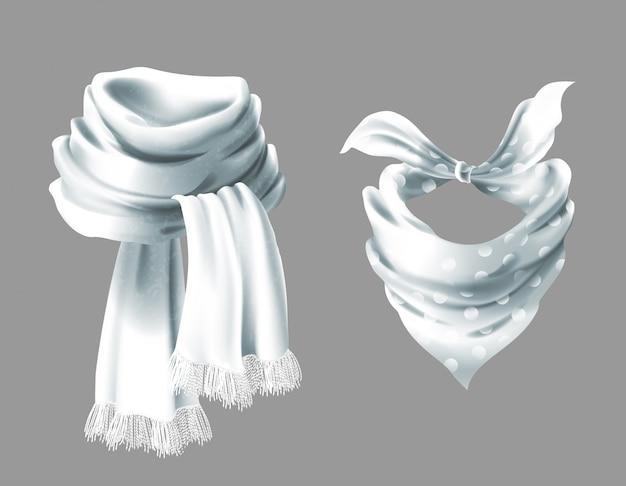 Lenço branco de seda 3d realista. pano de tecido de lenço de pescoço pontilhado.
