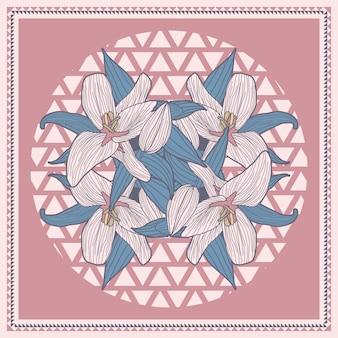 Lenço criativo moda para impressão com ilustração floral