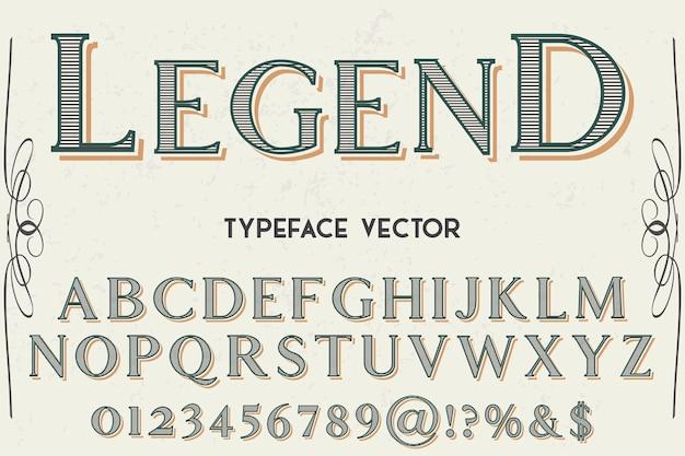 Lenda de design de rótulo de tipo vintage