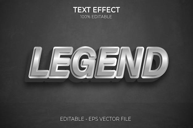 Lenda de prata brilhante com efeito de texto 3d editável estilo metálico premium vector
