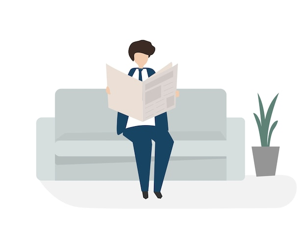 Lendo a ilustração de avatar de jornal