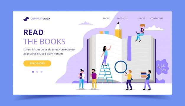 Lendo a página de destino, personagens de pessoas pequenas em torno do grande livro.