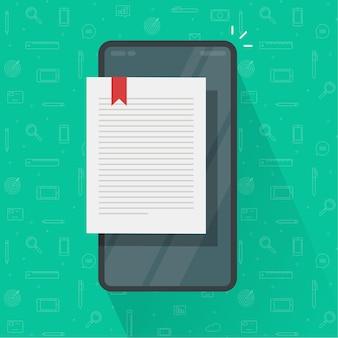 Lendo a página do e-book ou o bloco de notas eletrônico digital no celular smartphone plano dos desenhos animados