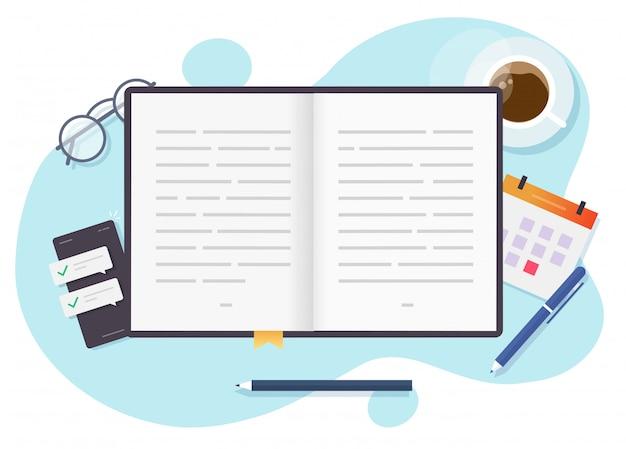 Lendo a vista superior do livro de papel na mesa da mesa ou aprendendo e estudando o livro aberto acima do local de trabalho plana dos desenhos animados