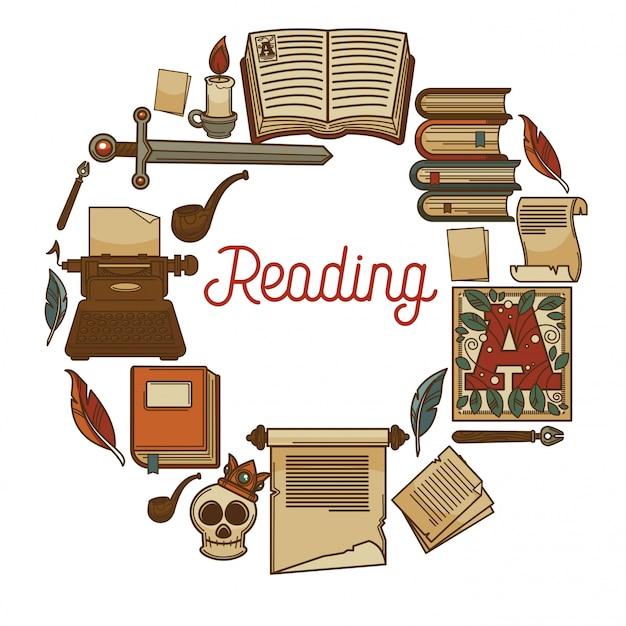 Lendo cartaz promocional com livros antigos e relíquias antigas