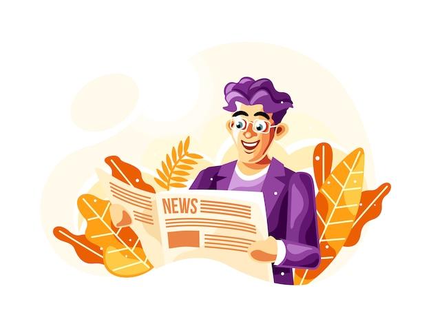 Lendo jornal ilustração vetorial com um novo estilo de vetor de desenhos animados