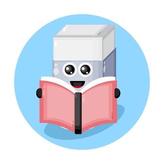 Lendo livro borracha mascote logotipo do personagem