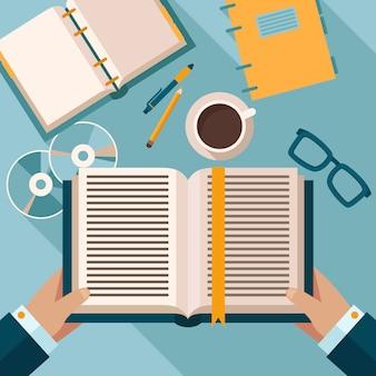 Lendo livros na área de trabalho