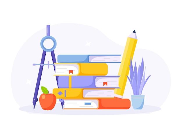 Lendo livros. pilha de livros da biblioteca, livros didáticos, bússola de desenho, papelaria escolar. literatura, conhecimento e educação