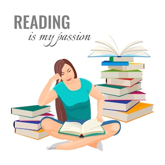 Lendo meu pôster de paixão com uma mulher que lê no chão, entre pilhas de livros. passatempo útil e processo educacional. menina e livros isolados.