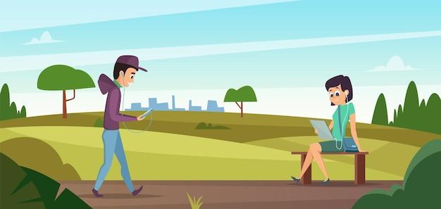 Lendo no parque. menino andando na natureza e menina sentada no banco com um livro