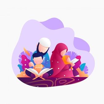 Lendo o alcorão na ilustração nigth ramadhan