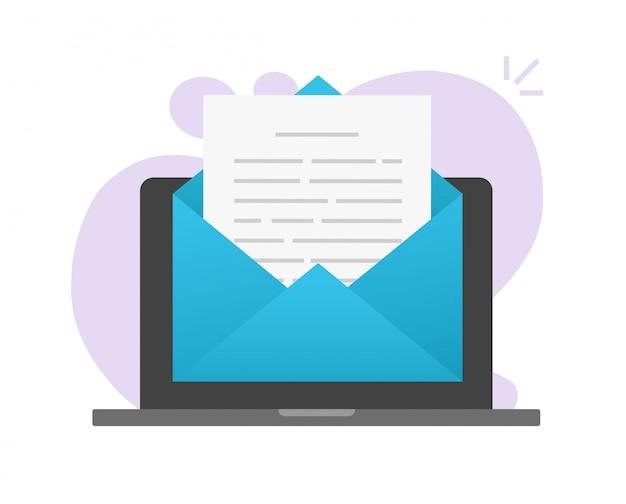 Lendo o arquivo de texto do documento de email on-line no computador laptop