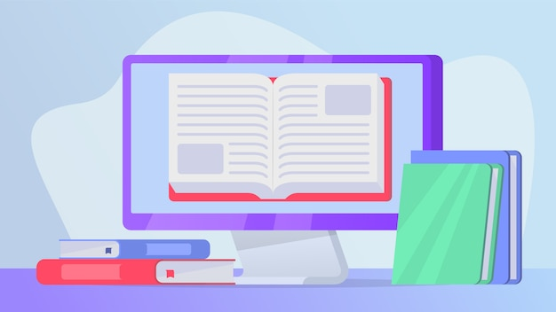 Lendo o conceito de livros on-line com o livro aberto na tela do laptop