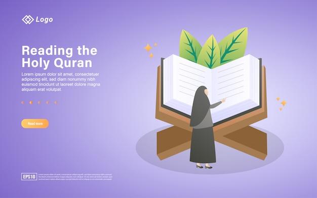 Lendo o modelo de página de destino plana do alcorão sagrado