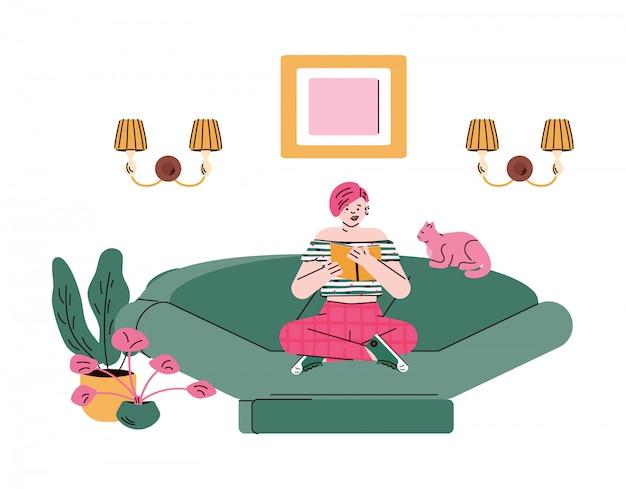 Lendo o personagem de mulher ou menina no interior, desenho ilustração