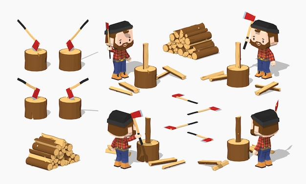 Lenha, picar, pela, 3d, lowpoly, isométrico, lumberjack