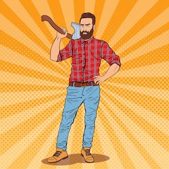 Lenhador com barba e machado