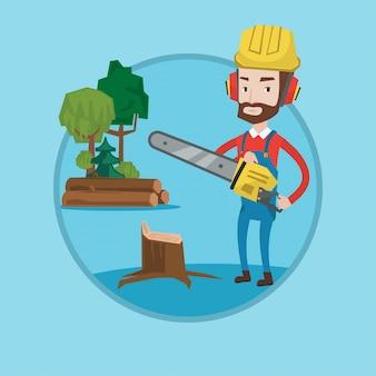 Lenhador com ilustração vetorial de serra elétrica.